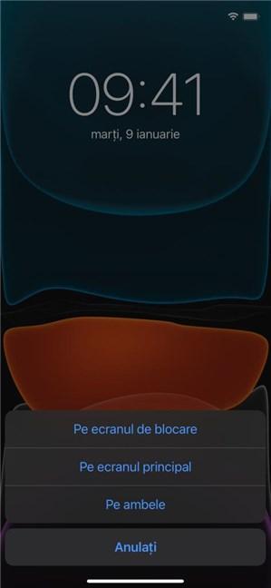 Decide dacă vrei fundalul pe ecranul de blocare, pe cel principal sau pe amândouă