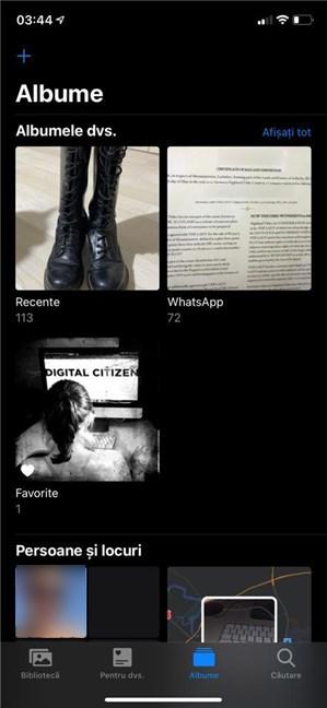 Răsfoiește folderele din Poze pentru a găsi fundalul de iPhone dorit