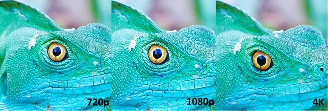 Comparația între surse 720p, 1080p și 4k arată o procesare excelentă a imaginii