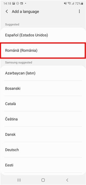 Găsește și selectează limba pe care vrei s-o folosești pe Android
