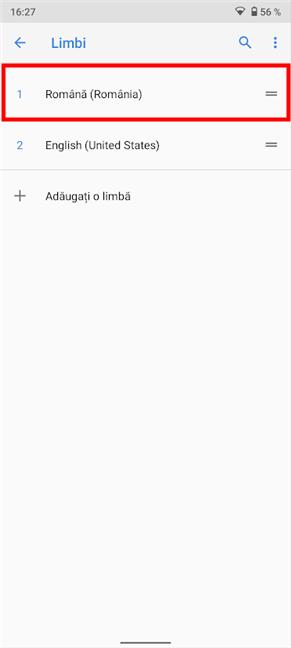 Android începe să folosească noua limbă de îndată ce o tragi în prima poziție