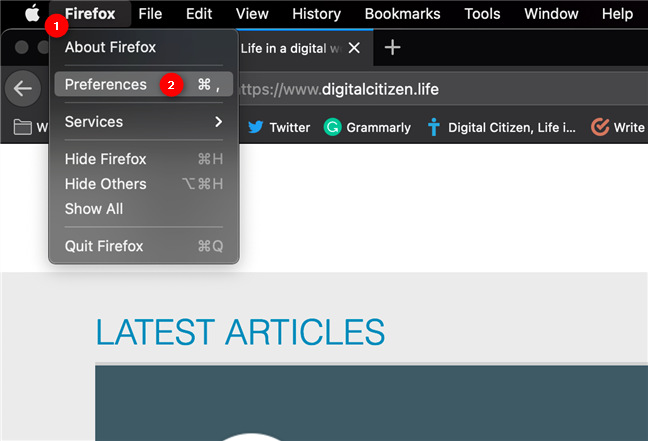 Accesează Preferințe pentru a schimba limba din Firefox pe Mac
