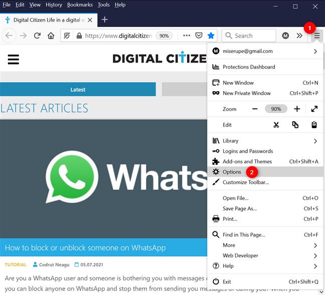 Apasă pe Options din meniu pentru a schimba limba din Firefox pentru Windows