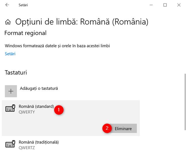 Elimină un șablon de tastatură din Windows 10