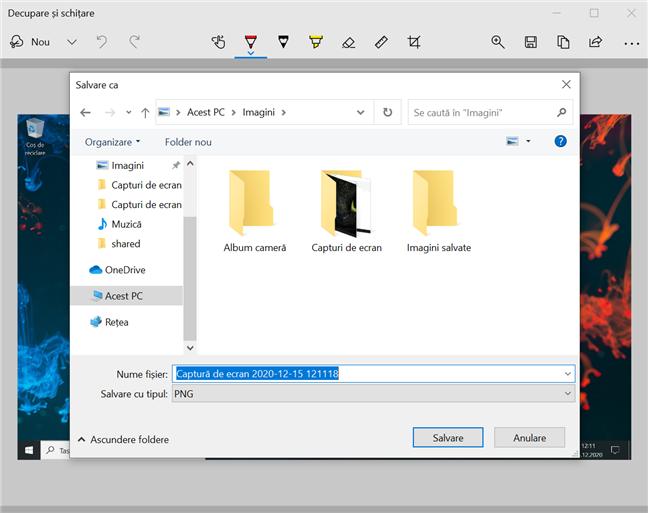 Alege unde sunt salvate screenshoturile cu Decupare și schițare