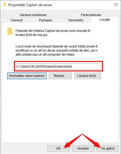 Schimbă unde găsești capturile de ecran în Windows 10