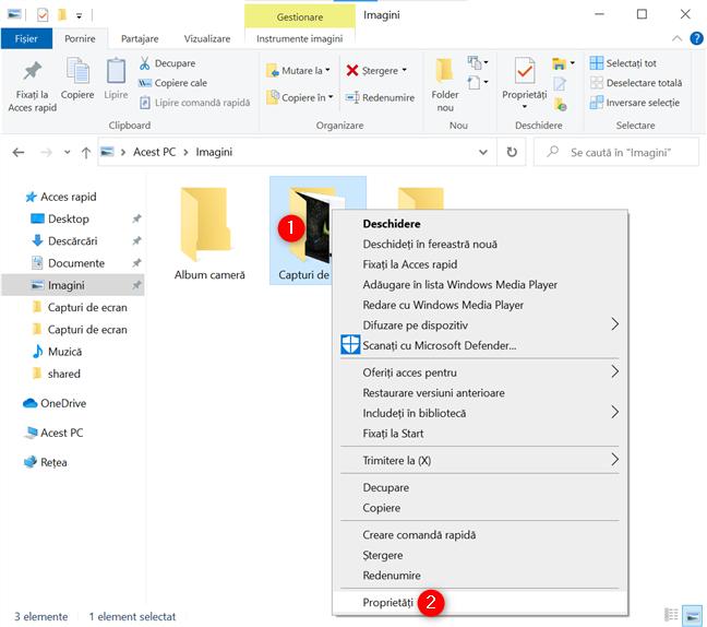 Deschide Proprietățile folderului Capturi de ecran din Windows 10