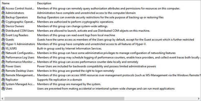 Lista de grupuri de utilizatori din Windows 10 afișați de lusrmgr.msc