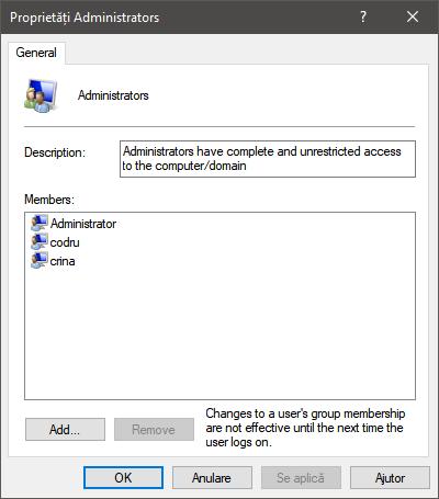 Proprietățile grupului Administrators în Windows 10