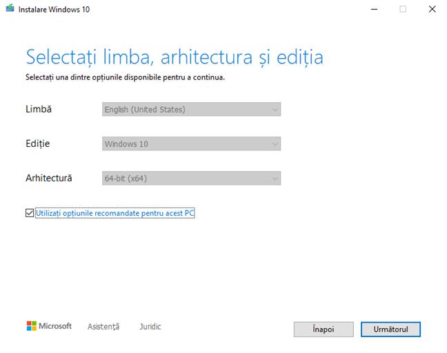 Alege limba, arhitectura și ediția pentru Windows 10