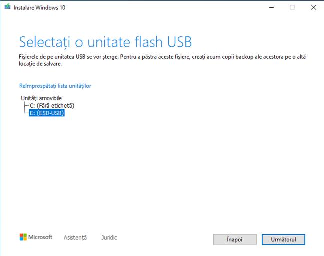Alege unitatea flash pe care vrei să o folosești