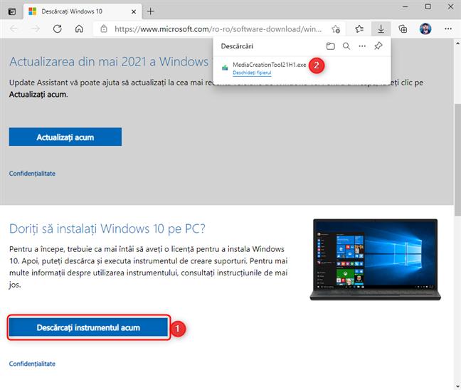 Descarcă Windows 10 Media Creation Tool