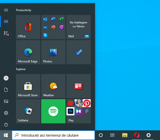 Meniu Start în Windows 10 : o singură coloană și fără lista de aplicații