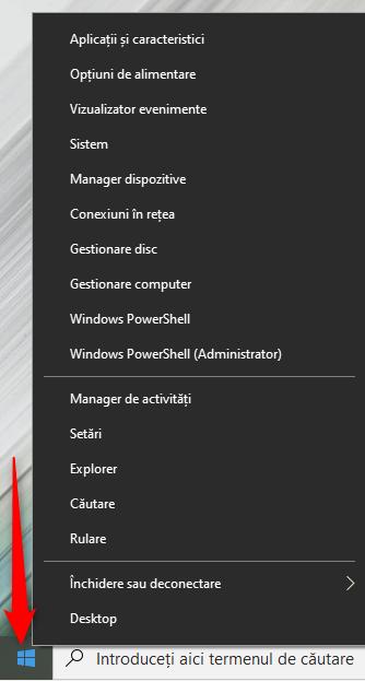 Dă clic dreapta sau apasă și menține apăsat pe butonul Start din Windows 10