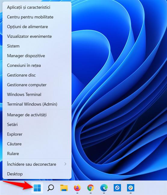 Dă clic dreapta sau apasă și menține apăsat pe butonul Start din Windows 11