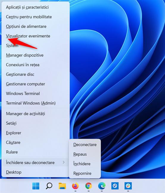 Folosește Win + X și apoi V pentru a porni Vizualizator evenimente în Windows