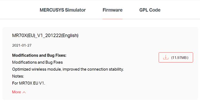 Actualizarea firmware-ului pentru Mercusys MR70X