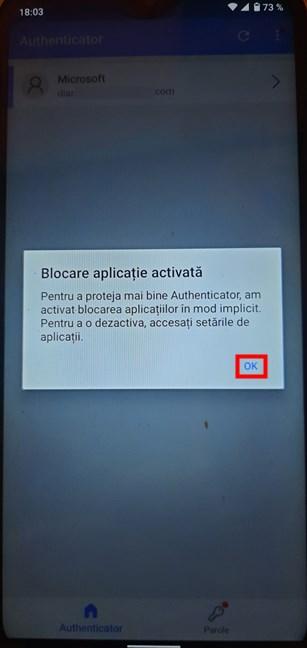 Apasă pe OK pentru a finaliza setarea Microsoft Authenticator
