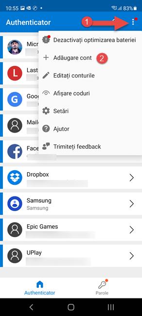 Cum adaugi un cont nou în Microsoft Authenticator