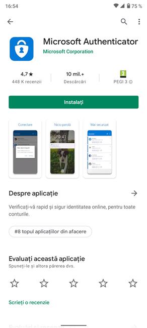 Aplicația Microsoft Authenticator în Magazinul Google Play