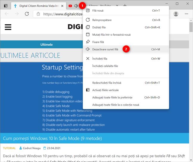 Dezactivează sunetul unei file din meniul său contextual