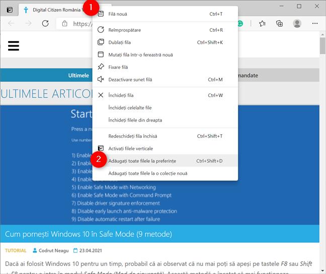 Adaugă toate filele la favorite din meniul contextual al unei file