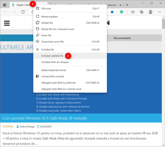 Închiderea celorlalte file din Microsoft Edge