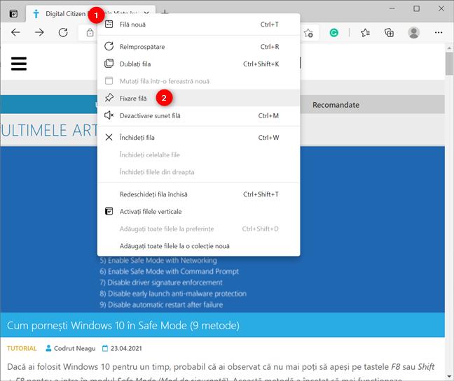 Fixează o filă în Microsoft Edge