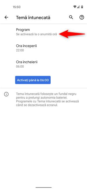 Programează când începe automat Tema întunecată pe Android