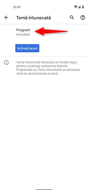 Programează când este activată Tema întunecată pe versiunea standard de Android