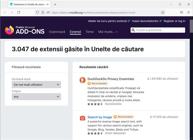 Uneltele de căutare din Firefox