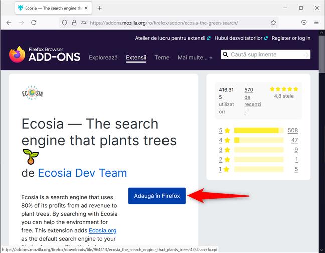 Adaugă un motor de căutare în Firefox