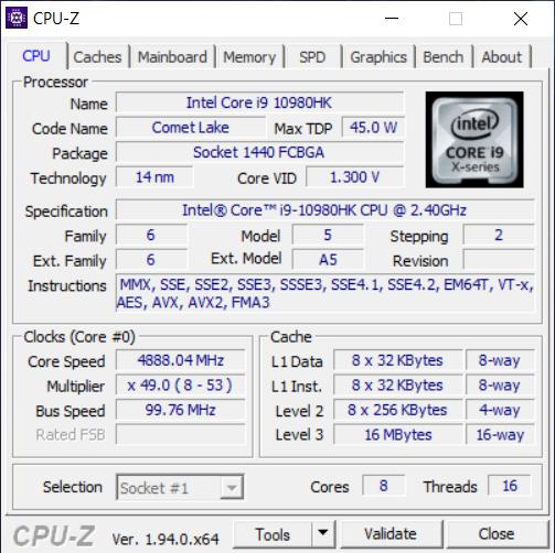 Informații despre procesor afișate de CPU-Z