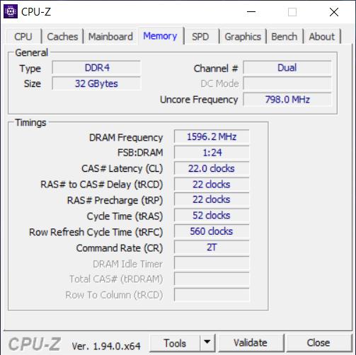 Detalii despre RAM, din CPU-Z