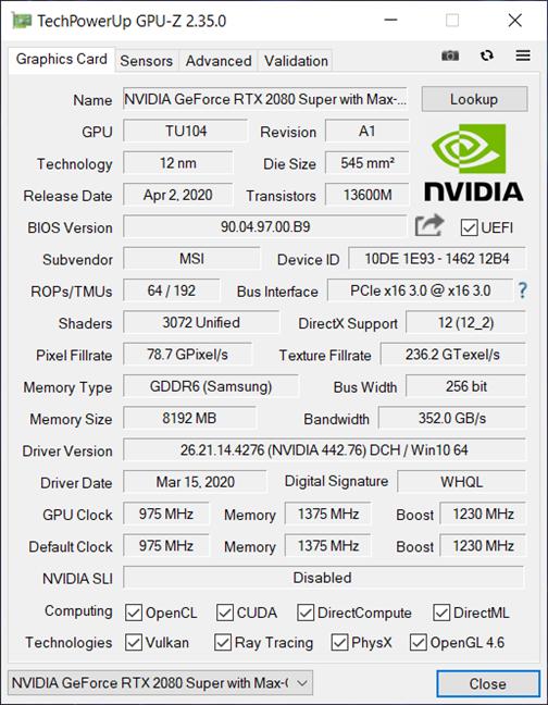 Laptopul de gaming MSI GE66 Raider 10SGS : Detalii GPU