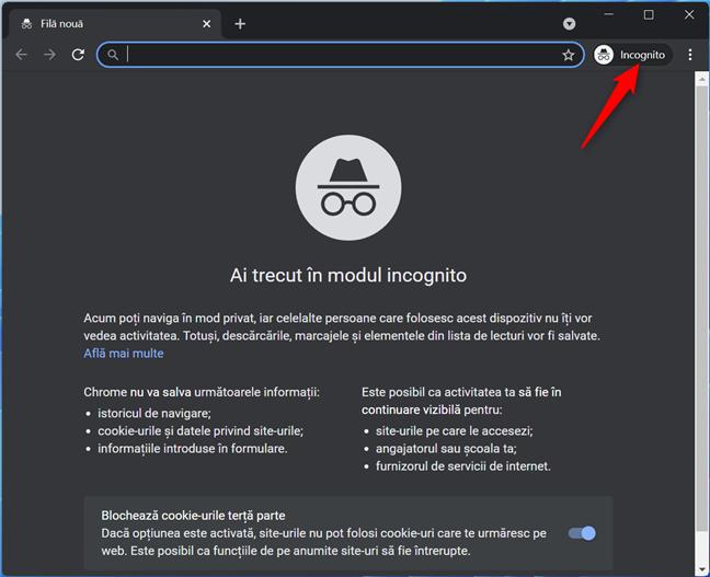Incognito în Chrome