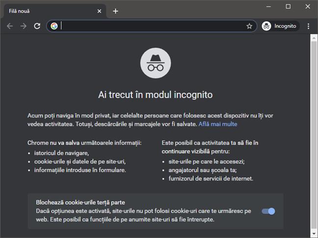 O filă incognito în Google Chrome