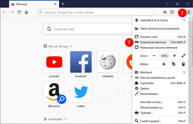 Deschide o fereastră privată în Mozilla Firefox