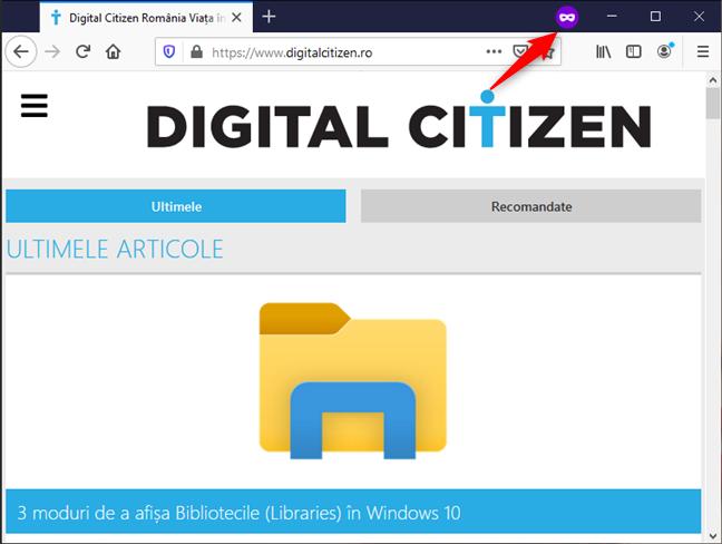 Pictograma pentru navigare privată în Mozilla Firefox