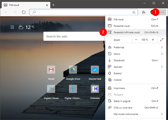Deschide o fereastră InPrivate în Microsoft Edge