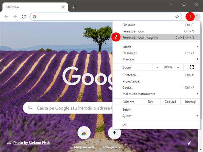 Deschide o fereastră incognito nouă în Google Chrome