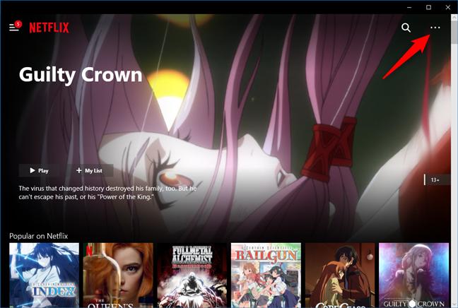Butonul de meniu din aplicația Netflix pentru Windows 10
