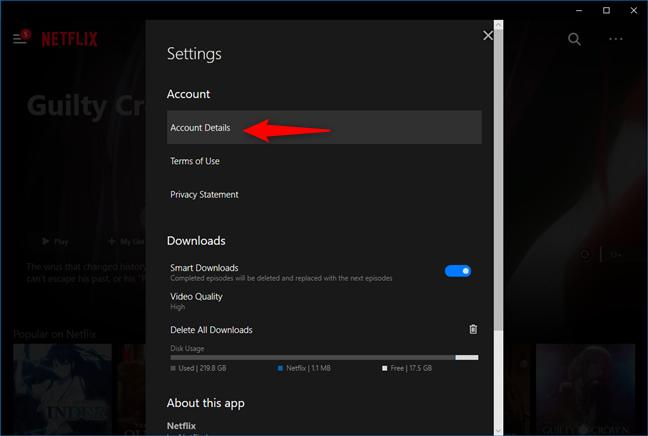 Linkul Account Details (Detalii cont) din aplicația Netflix pentru Windows 10