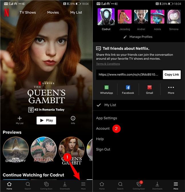 Apăsarea pe linkul Account (Cont) din aplicația Netflix pentru Android