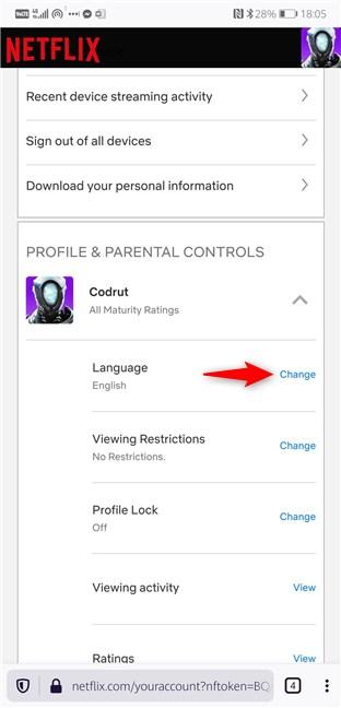 Linkul de schimbare a limbii Netflix