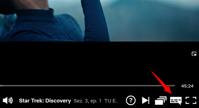 Butonul care controlează limba audio și pentru subtitrare în Netflix (browser și PC)