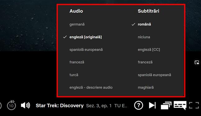 Opțiunile Audio și Subtitrări din Netflix