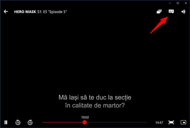 Butonul care deschide opțiunile de limbă pentru un film sau serial din Netflix, în aplicația Netflix pentru Windows 10