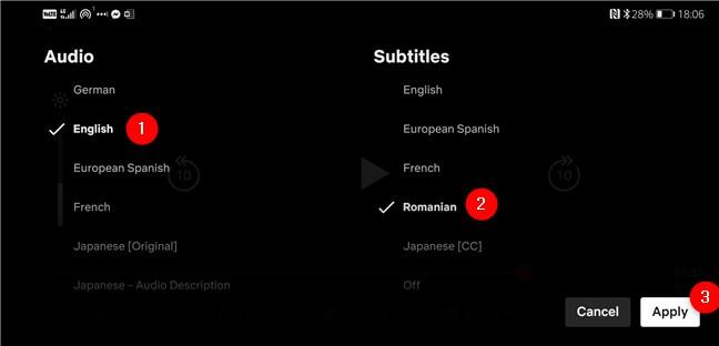 Selectarea limbilor pentru Audio și Subtitles (Subtitrări), pentru un film sau serial, în Netflix pentru Android