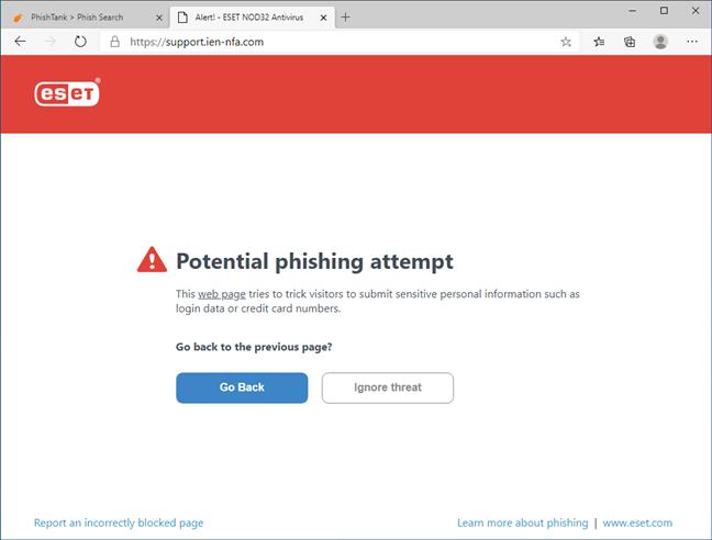 ESET NOD32 Antivirus blocând un site de phishing
